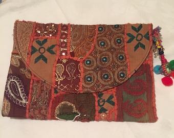 Handmade boho style laptop clutch