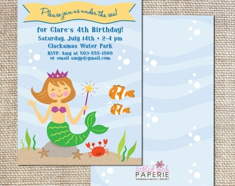 Birthday party Invitation for your cute little mermaid