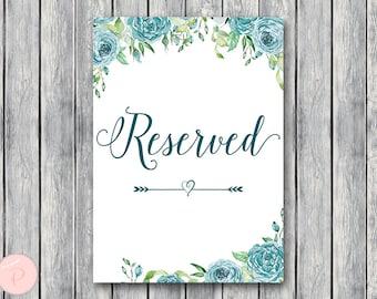 Teal Floral Reserved sign, Wedding Reserved seating sign, Table sign, Wedding sign, Printable sign, Wedding decoration sign TH77