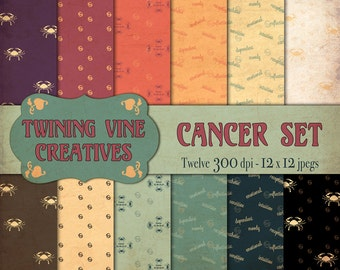 Zodiac Cancer Digital Papers, Vintage Paper, Commercial Use, Zodiac Paper, Cancer Paper, Astrology Paper, Horoscope Paper, Cancer Pattern