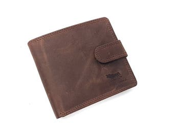 Mens Top Quality Brown Wallet Distressed Hunter Real Leather Wallet | Trifold Wallet Coin Purse Pocket | Credit Card Holder #710