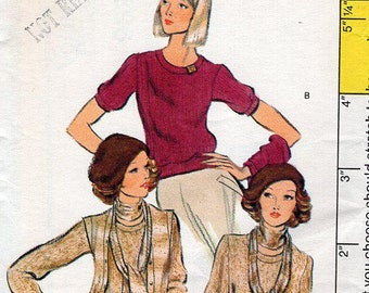 FREE US SHIP Vogue Sewing Pattern Vintage Retro 1970s 70s 9328 Sweater Knit Cardigan Pullover Uncut Size 10 Bust 32 1/2