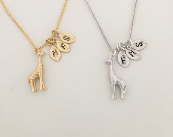 Personalized Giraffe Initial Necklace - Giraffe Necklace with Monogram - Baby Giraffe Charm - Giraffe Necklace and Initial - For Moms
