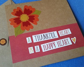 A Thankful Heart is a Happy Heart Handmade Card - Recycled Kraft Paper Square Greeting Card, Thank You Card, Blank Card