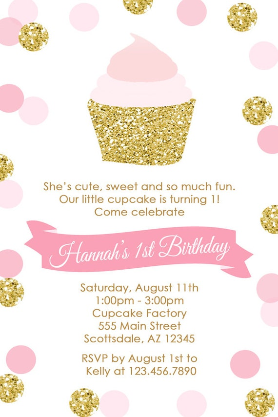 Pink and Gold Cupcake Birthday Party Invitation Cupcake