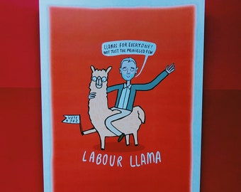 Labour llama - signed A4 Print - Katie Abey - llamas for everyone - Jeremy Corbyn - labour party - llama print