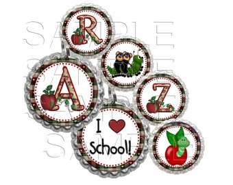 Apple Alphabet Bottle Cap Images, Clip Art,1 Inch Circles, Cupcake Toppers, Stickers,Buttons, Digital Download, DIY Printable