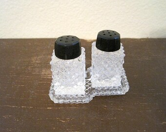 Individual Glass Salt and Pepper Shakers with Tray, Made in Japan