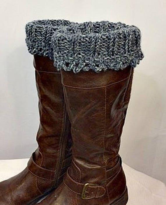Boot Cuffs, Knit & Crocheted Leg Warmers, Boot Toppers, Boot Socks, Stonewashed Denim, Winter Accessories, Giftforher, GracefulEweFiberArts