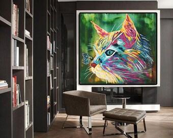 CAT Print Canvas, Cat Art Print, Cat Print Art, Cat Painting, Cat Art, Large Print Modern Print Canvas Art Wall Art Decor by Kathleen Artist