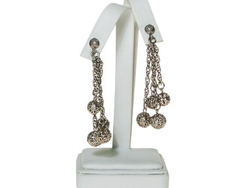 Silver Filigree Beads Earrings, Clip On, Dangling, Drop