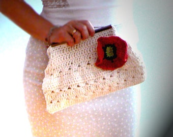 Flower crochet frame clutch-Off white red poppy purse-fashion retro inspired handbag-Ocassion crochet purse-Evening purse-Women gift