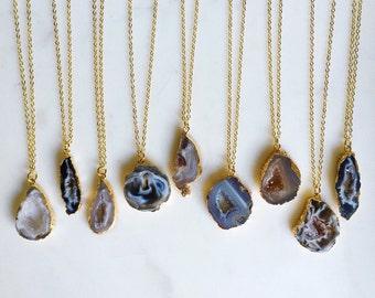 Geode Druzy Slice Charm Necklace