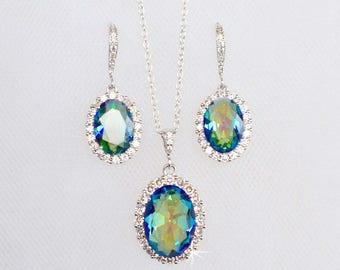 Handmade Semi-Precious Mystic Zircon Oval Cut Halo Dangle Necklace & Earrings Set, Bridal, Wedding (Sparkle-2721)