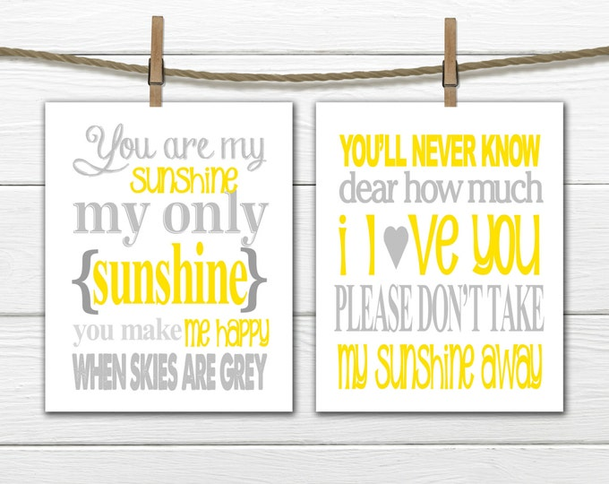 You Are my Sunshine Two Piece Set - Nursery Decor - Yellow and Gray Nursery Decor