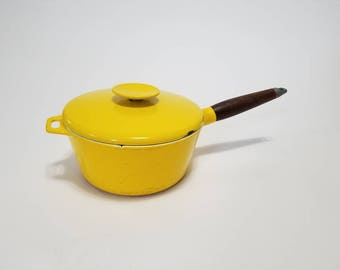 Vintage Copco Medium Heavy Enameled Yellow Pot with Wood Handle