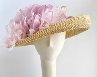The Reveal Wide Brim Straw Hat with Hues of Pink