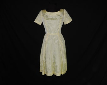 1950s yellow floral day dress vintage taffeta party frock small