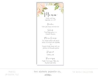 Floral Wedding Menu - NICOLE Collection - Printable Wedding Menu - Watercolor Floral Wedding Menu - Wedding Menu Printable