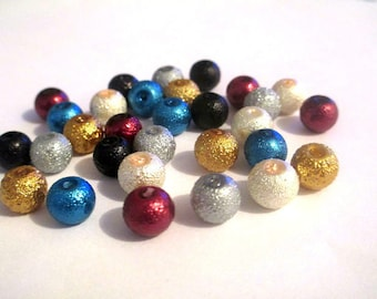 60 beads mix of brilliant glass 8mm
