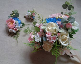 Wedding silk flower cream blue white light pink bridal bouquet set with matching boutonniere and comb