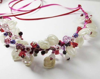 Mulberry Memories Beaded Bridal or Flower Girl Garland Wreath Head Piece - Ready to Ship