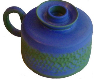 Lamp,Candle lamp,Hand carved,Matt blue/green glaze,Cornish pottery,ref Lmp101