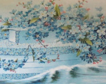 LAST CHACE SALENice Vintage Fantasy/Floral Boat Postcard (Forget-Me-Nots)