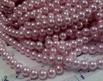 Glass Pearl Beads - 42 pc - Light Pink Pearl Beads -  8mm - Round - Dyed - Pink Pearl Beads