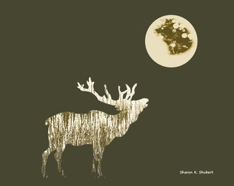 Bugling Elk Art, Wildlife Abstract Realism, Rustic Cabin Home Decor, Woodland Full Moon, Sepia Green, Wall Hanging, Giclee Print, 8 x 10