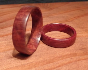 Rare Handcrafted Burl Wood Wedding Rings and by Shirleyswoodworks