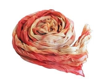 Orange boho scarf, peach silk scarf, chiffon scarf, crinkle scarf, trending now, scarf gift for wife, trend boho scarf, girlfriend scarf