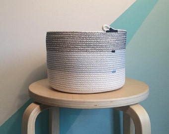 3 tone Rope Basket - Tall - blue/white - House warming or Wedding Gift