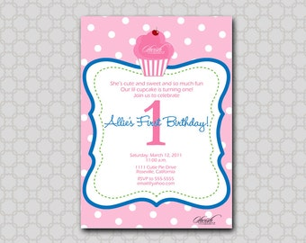Cupcake Birthday Party Invitation - Digital Birthday Invite - printable party