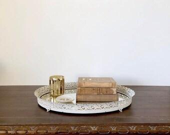 Vintage Mirror Tray / Dresser Tray / White Shabby Chic Mirror Tray / Vanity Mirror Tray