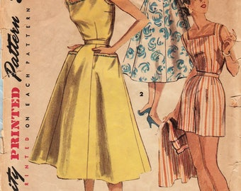 Simplicity 1180 / Vintage 1950s Sewing Pattern / Skirt Shorts Top Playsuit / Bust 33