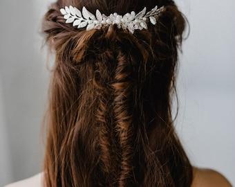 Silver Laurel Headpiece | Silver Bridal Leaf Comb | Silver Leaf Comb | Silver Leaf Headpiece | Laurel Bridal Comb | Silver Meadow Comb