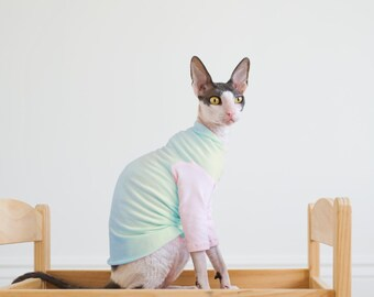 Pastel Sphynx Cat Clothes with multiple Pastel choices for body and sleeves.