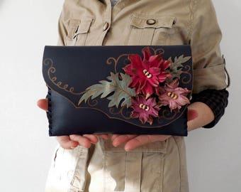 Pink flowers clutch purse Black leather clutch Navy and pink bag Unique leather clutch Evening purse Bridesmaid clutch bag Designer bag