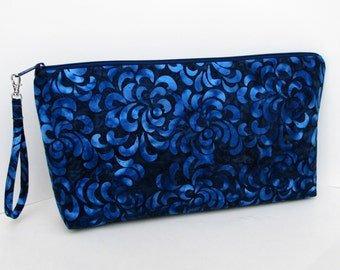 Large Zippered Project Bag Pouch, Blue Batik Flower Petals