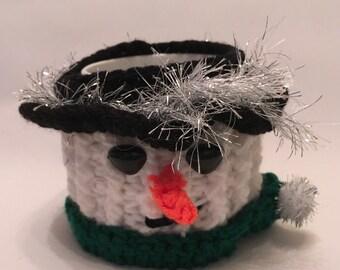 SNOWMAN  hand crochet mug cosy with mug