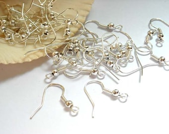 100 Pieces Silver Plated French Hook Ear Wires - 13-3