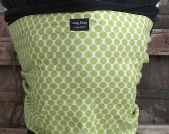 ORGANIC COTTON Baby Wrap-Lime Dots on Black-DvD One Size Fits All