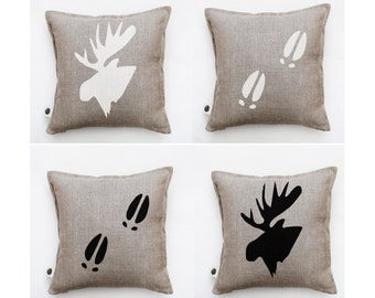 4 Pillows set of moose heads and tracks - white and black moose heads and tracks. Decorative pillows set for home decor 0416