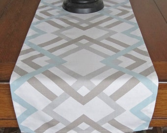 Table Runner, Light Blue/ Taupe/ Gray, Winter Table Runner, Wedding Table Runner, Geometric Runner, Winter Home Decor