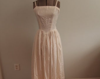 1950's White Evening Gown with Gathered Skirt