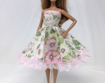 """Spring Doll Dress-11.5"""" Doll Clothes-Pink Floral Doll Dress-Flower Dress-Spring Flower Dress-Easter Dress-Girls Birthday Gifts-Toys"""