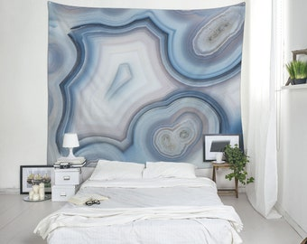 Blue Agate Wall Tapestry, Mineral Photography, Abstract Tapestry, Blue Wall Art, Wall Blanket, Modern Tapestry, Photo Wall Decor. MW101