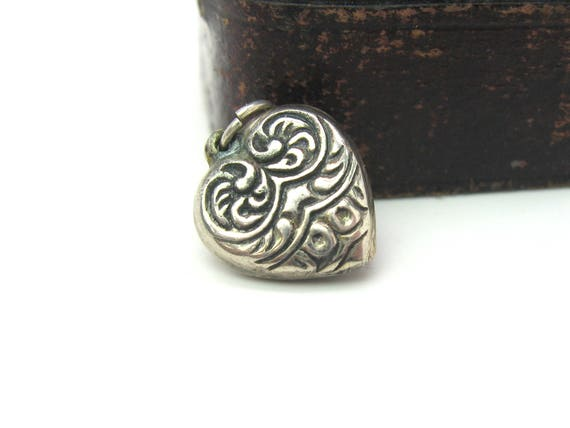 Vintage Sterling Silver Puffy Heart Charm Pendant. Embossed Floral Scrolls. c. 1940s WWII Love Token.