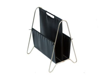 Vintage newspaper rack stand for newspapers Books black leather